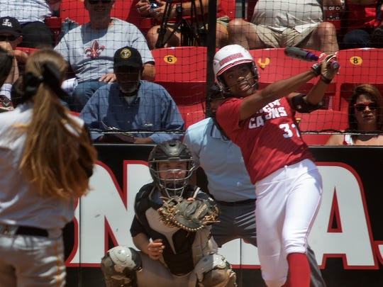 D.J. Sanders watches as the ball she hit leaves the park to give the Cajuns a 6-0 lead over Appalachian State on Sunday at Lampson Park.