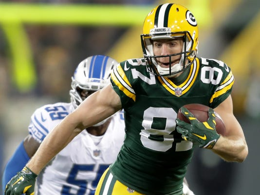 Wide Receiver Jordy Nelson Runs After A Reception Against The Detroit Lions On Nov 6 2017 At Lambeau Field Photo Wm Glasheen Usa Today