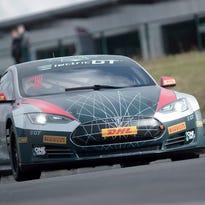 Tesla's electric car takes on the Pau-Arnos circuit
