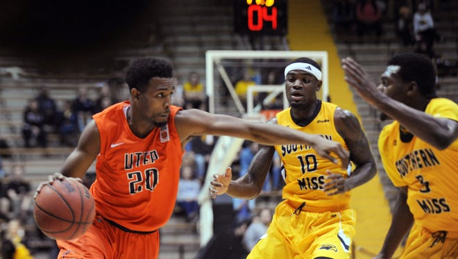 UTEP's Earvin Morris (20) drives against Southern Mississippi during an NCAA college basketball game Thursday in Hattiesburg, Miss.