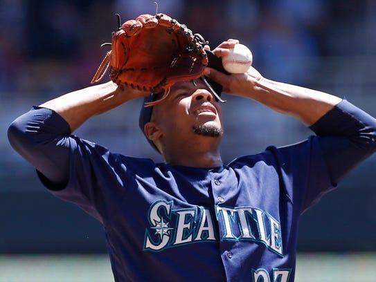 Mariners starter Ariel Miranda gave up five runs on