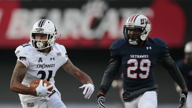 Bearcats wide receiver Devin Gray turns upfield after a long catch in the first quarter against UT Martin.