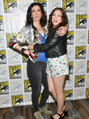"Rachel Bloom (right) made her Comic-Con debut previewing the final season ""Crazy Ex-Girlfriend"" with fellow co-creator Aline Brosh McKenna."