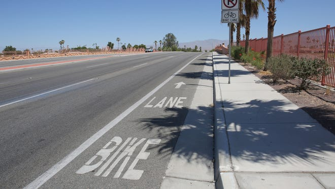 The bike lane on Jefferson Street will connect to the path of the CV Link here at the wash in La Quinta.
