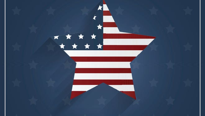 Veterans Day poster on blue background with star.
