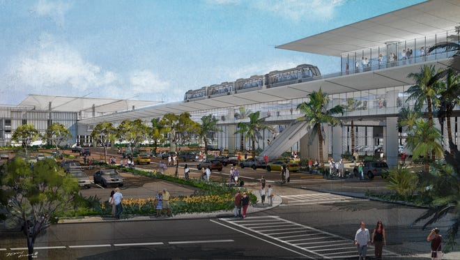 In 2023, an Automated People Mover at LAX will make access to the airport much easier. The light rail train is seen in this rendering at one of the several new off-terminal facilities —the Consolidated Rental Car Center.