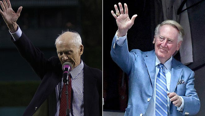 Ernie Harwell, left, and Vin Scully.