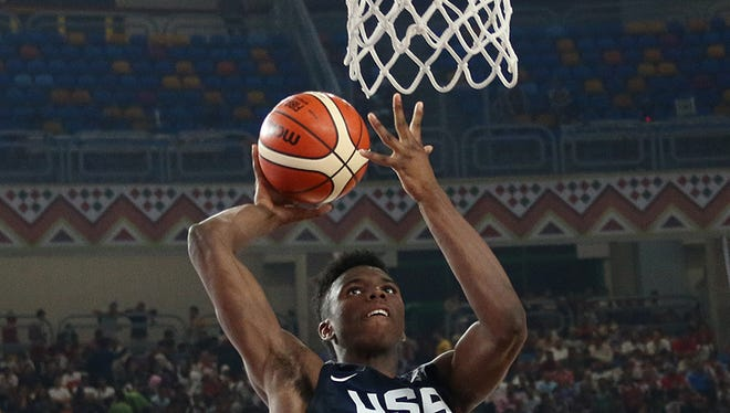 Hamidou Diallo goes toward the basket in United States win against Iran at the FIBA World Cup Saturday June 1, 2017 in Cairo.