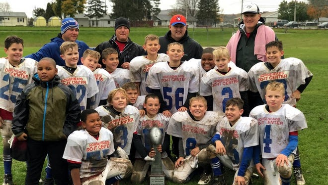 Horseheads Do-It Center won the Horseheads Small Fry junior division title with an 8-0 record. Front row: Na'Ziah Andrews, James Collier, Willy Foster, Maddox Harvey, Lucas Mosher, Mason Mawhir, Desmond Moore, Matt Mahon. Middle row: Grayson Hartke, Reilly Wells, Dan Sabia-Veillette, Luca Capilli, Landon Poulsen, Cullen Mawhir, Nehemiah Andrews, Joshua Wilson, Joey Mastrantonio. Back row: coaches Mike Mawhir, Tim Mawhir, Pete Mastrantonio, John Mahon.