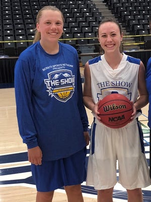 Delsie Johnson of Fort Collins High School, left, and Maddy Bennett of Rocky Mountain High School were named MVPs of their respective teams in the senior all-stars game at The Show on Saturday.