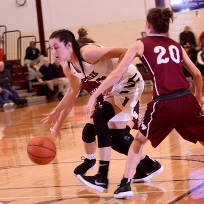 Newark's Katie Shumate splits a pair of Willard defenders