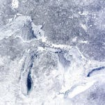 Satellite photo of Michigan and the Great Lakes on Feb. 16, 2015.