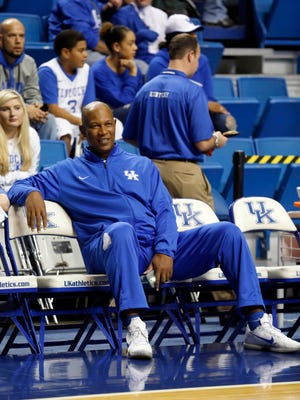 Oct 27, 2015; Lexington, Kentucky, USA; Kentucky Wildcats assistant coach Kenny Payne watches his team practice before the Blue White scrimmage at Rupp Arena. Mandatory