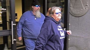 Bernard Savage and his wife, Patricia Savage, leave federal court in Burlington on Tuesday, Jan. 17, 2017, after their sentencing hearings were delayed. Last summer, Bernard Savage admitted one felony count of conspiracy to distribute cocaine and oxycodone. Patricia Savage pleaded guilty to a misdemeanor count of oxycodone possession.