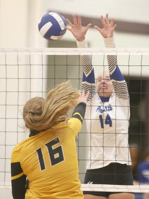 Boonville junior Addi Brownfield goes up for a block in the second set against Fulton Thursday night at the Windsor gymasium. The Lady Pirates beat Fulton in two straight sets 25-10, 25-17.