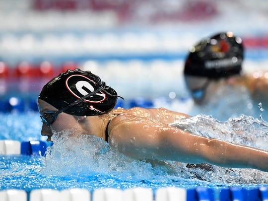 Hali Flickinger swims in a women's 200-meter butterfly semifinal at the U.S. Olympic Team Trials Wednesday in Omaha, Neb.