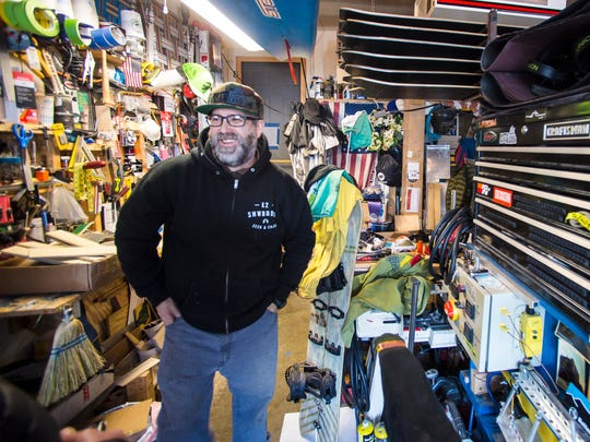 Max Holzman produces his custom MTN Local Snowboards in his workshop in Essex. Seen on Monday, December 4, 2017.