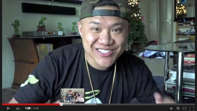 Screenshot from Timothy DeLaGhetto's YouTube video.