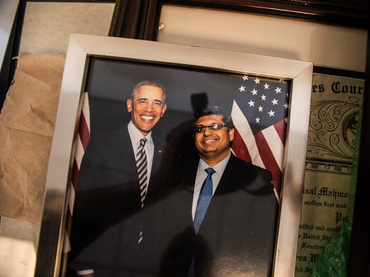 A photo President Barack Obama and Faisal Gill at Gill's office on Church Street in Burlington.