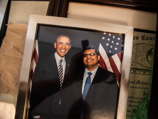 A photo President Barack Obama and Faisal Gill at Gill's office on Church Street in Burlington.