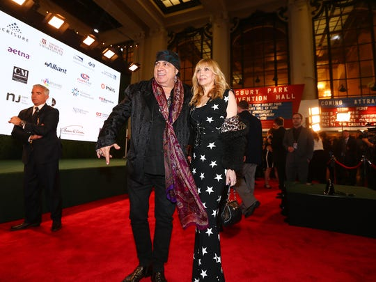 Musician and actor Steven Van Zandt and wife Maureen walk Red Carpet in preparation for Sunday evening's 10th Anniversary Induction Ceremony of the New Jersey Hall of Fame at the Paramount Theater in Convention Hall, Asbury Park.  May 6, 2018. Asbury Park, NJ