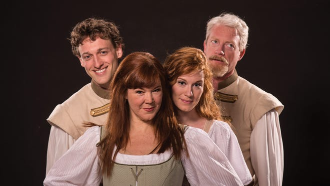 """Luigi Sottile plays Claudio, Kim Martin-Cotten plays Beatrice, Leslie Lank plays Hero and Ben Livingston plays Benedick in the Utah Shakespeare Festival's 2016 production of """"Much Ado About Nothing."""""""