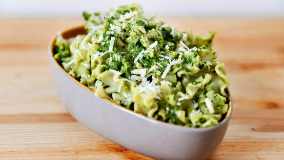 Kale-basil pesto, made with kale from a CSA share from
