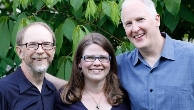 "Rich Higdon, Katie Dahl and Eric Lewis, from left, will perform Northern Sky Theater's ""Home for the Holidays"" concerts from Dec. 27 to 31 at Old Gibraltar Town Hal in Fish Creek."