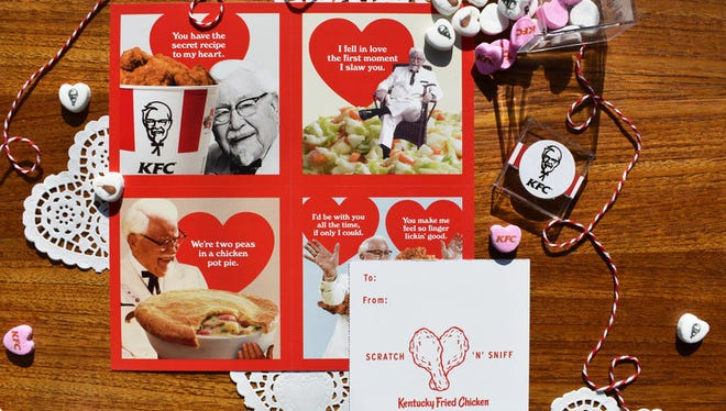 KFC's valentines come in four different intoxicating designs, each with a fried chicken scratch 'n' sniff patch, so your valentine can indulge in the heavenly aroma of the Colonel's 11 herbs and spices. (PRNewsfoto/KFC)
