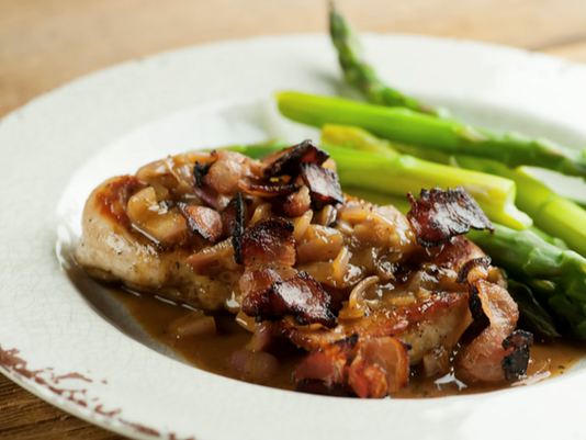 Chicken with bacon mustard sauce