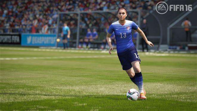 U.S. Women's National Team star Alex Morgan appears in a scene from 'FIFA 16.'