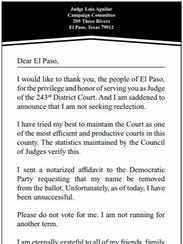 District Judge Luis Aguilar placed this ad in the Sunday