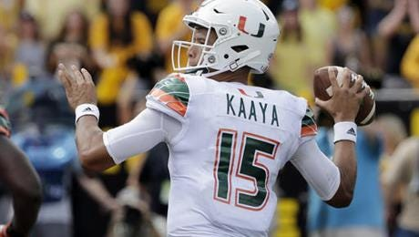 Miami's Brad Kaaya looks to pass against Appalachian State during the second half of an NCAA college football game in Boone, N.C., Saturday, Sept. 17, 2016.