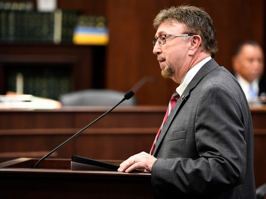 Bill sponsor Rep. David Byrd speaks about a bill that will allow school employees to carry gunsthat is under consideration before the House Civil Justice Subcommittee Wednesday, Feb. 28 2018 at the Cordell Hull Building in Nashville, Tenn.