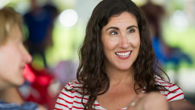 U.S. House candidate Shireen Ghorbani meets with voters at the Iron County Democrats' event at Main Street Park in Cedar City Saturday, July 21, 2018.