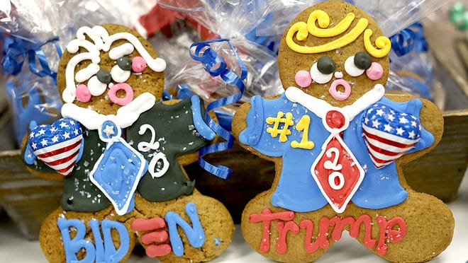 Biden and Trump cookies are seen at Ginger Betty's Bakery in Quincy.