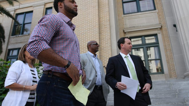 Nate Allen and his lawyer Sawyer Smith scheduled a 10 a.m. press conference in Fort Myers to discuss an investigation by Fort Myers police. Allen, who has been cleared of any wrongdoing by police and the state attorney's office, said he's glad the situation with a false accusation is over but that he's heard of similar situations.