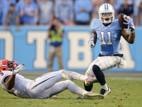 Lehigh grad Malik Simmons had two interceptions for the University of North Carolina in a 26-13 win over Virginia on Saturday.