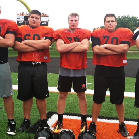 Northville's veteran offensive line will be anchored by (from left) David Moorman, Alex Angelas, Alex Justice, Max Steilen and Zach Graham.