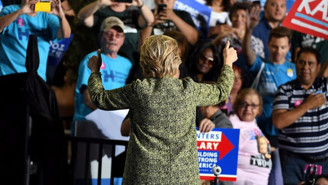 Hillary Clinton campaigns in Las Vegas on Oct. 12, 2016.
