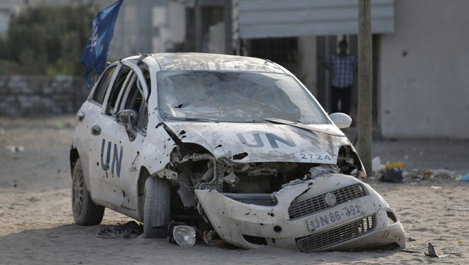 A United Nations car after an Israeli airstrike in Gaza.