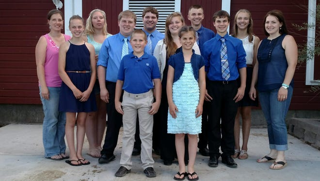 Pictured, back row, from left: Coach Shelly Grosenick, Danielle Warmka, Paul Grulke, Dawson Nickels, Kylie Nickels, Coach Linda Behling. Middle row, from left: Samantha Pitterle, Ben Buske, Emily Butler, Matthew Gunst. Front row, from left, are Luke Petersen and Elizabeth Gunst. The junior team was first overall, the senior team took third, missing second place by three points.