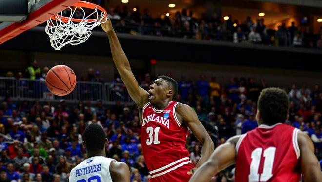 Indiana Hoosiers center Thomas Bryant (31) dunks the ball against Kentucky Wildcats forward Alex Poythress (22) during the second round of the 2016 NCAA Tournament at Wells Fargo Arena in Des Moines, Iowa, on March 19, 2016.