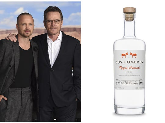 "This combination photo shows ""Breaking Bad"" actors Aaron Paul, left, and Bryan Cranston at the Los Angeles premiere of their film, ""El Camino: A Breaking Bad Movie,"" in Westwood, Calif. on Oct. 7, 2019, left and a bottle of their new artisanal Dos Hombres mezcal."