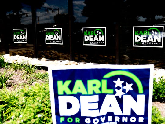 Signs are outside the Karl Dean campaign office at