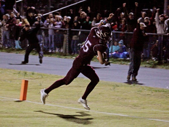 Stuarts Draft Dylan Lehmann catches a touchdown pass in overtime to give the win to the Cougars against Riverheads in the game on Friday, Nov. 4, 2016 in Stuarts Draft.