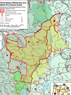 This map shows the closure in the Three Sisters Wilderness due to wildfire.