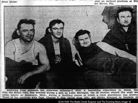 Rescued crew of the Henry Cort, including Capt. Charles