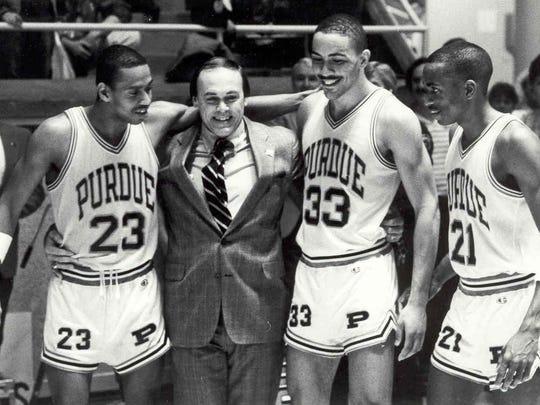 Purdue coach Gene Keady celebrates the 1988 Big Ten