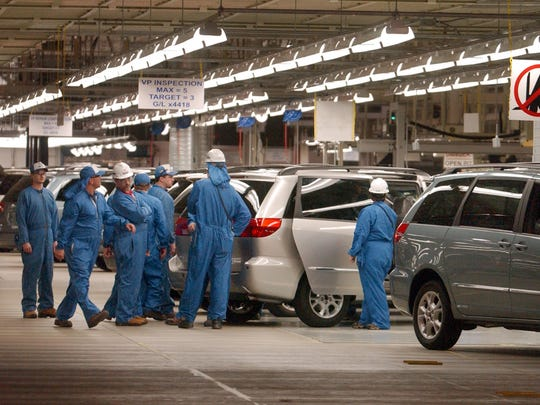 Toyota celebrated its production of the Sienna minivan during a ceremony at the Toyota plant in Princeton in January of 2003.